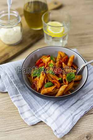 penne with tomato and basil in