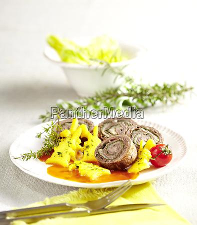 italian beef roulade with polenta rabbits