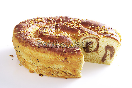bavarian easter bread filled with hazelnuts