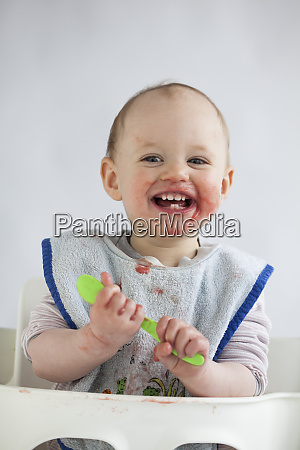 portrait of happy baby girl with