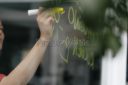 hand writing offer on windowpane in