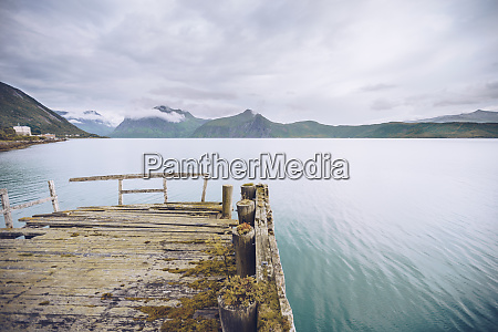 norway senja ramshackle jetty at the