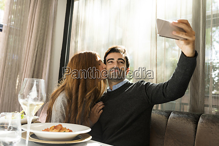couple in love taking a selfie