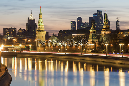 russia moscow moskva river with the