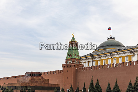 russia moscow kremlin and lenins mausoleum