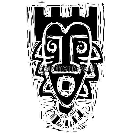 african tribal mask silhouette ritual exotic