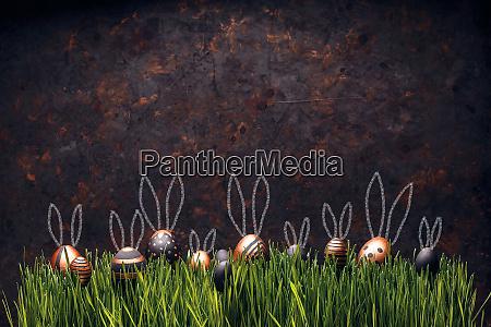 set von stilvollen eiern mit osterhasenohren