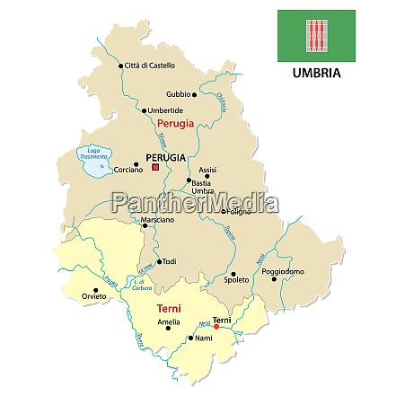 umbria administrative and political map with