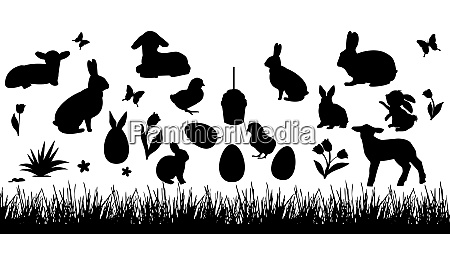 set of easter animals silhouettes of