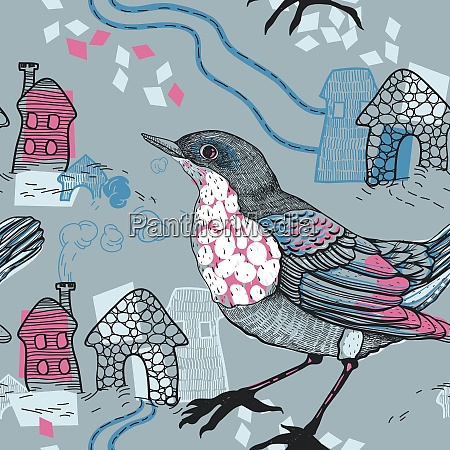 vector seamless pattern with birds and