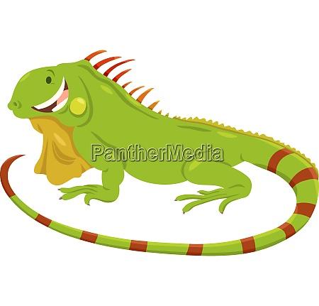 cartoon green iguana animal character