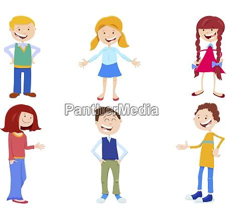 cartoon set of kid and teen