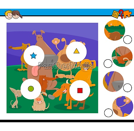 match pieces puzzle with cartoon dogs