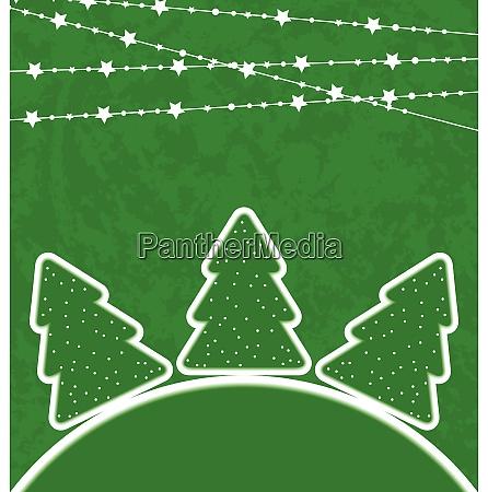 illustration weihnachten set baeume mit girlande