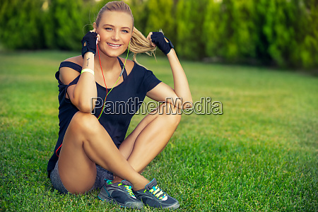female exercising outdoors