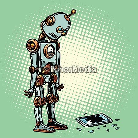 roboter und kaputter telefonbildschirm