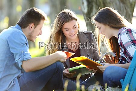 drei studenten studieren im freien auf