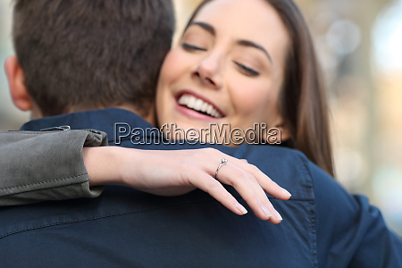 happy girlfriend after marriage proposal