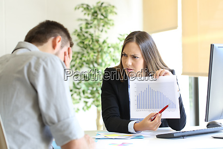 angry boss scolding to an employee