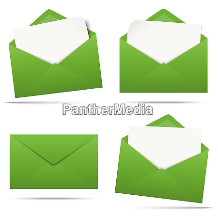 colored envelopes with empty paper