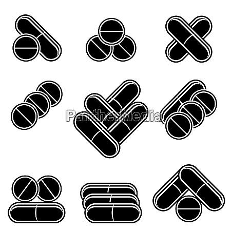 set von farbigen medizinischen pillen drugs
