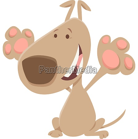 happy beige dog cartoon animal character