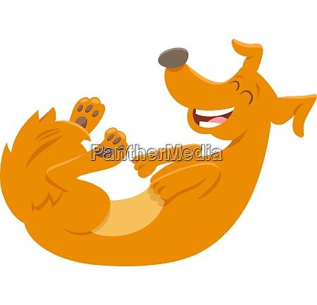 happy red dog cartoon animal character
