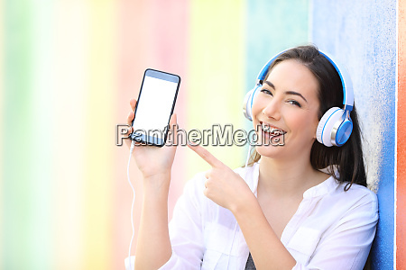 happy girl listening to music is