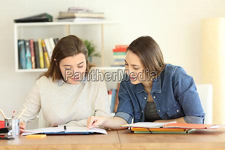 2 schueler lernen gemeinsam zu hause