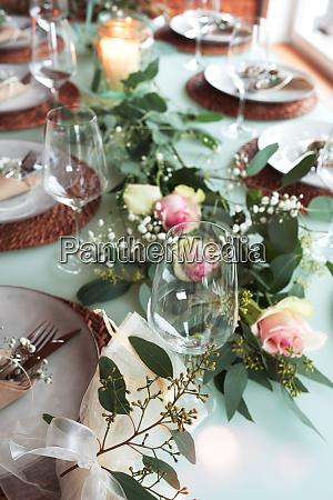 festive decorated wedding table