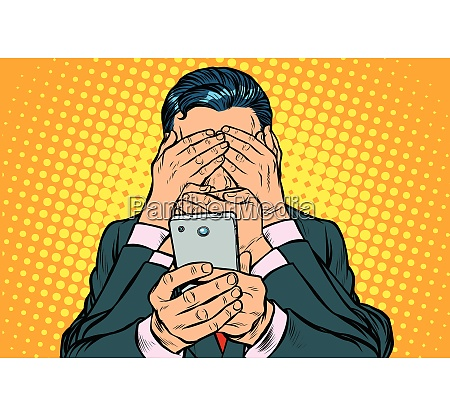 internet censorship concept man with smartphone