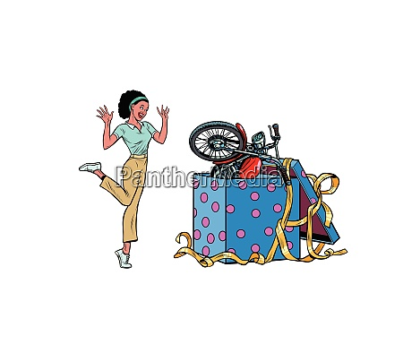 motorcycle holiday gift box african woman