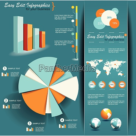 set of infographic elements world map
