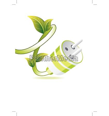 gruener stecker mit blatt auf weiss