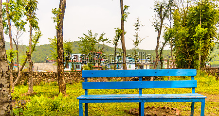 idyllic mountain village bench and landscape