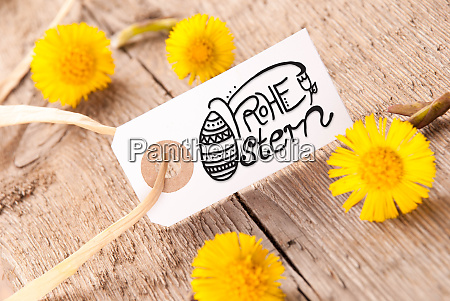 label dandelion calligraphy frohe ostern means