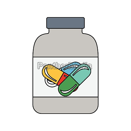 flat design icon of fitness pills