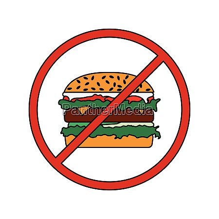 flat design icon of prohibited hamburger