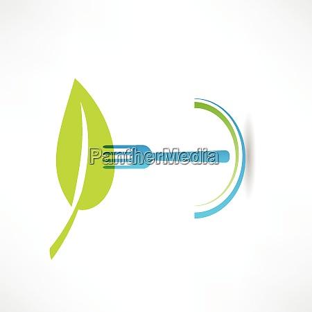 gruenes blatt und blaue gabel symbol