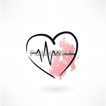 kardiologie herz grunge symbol