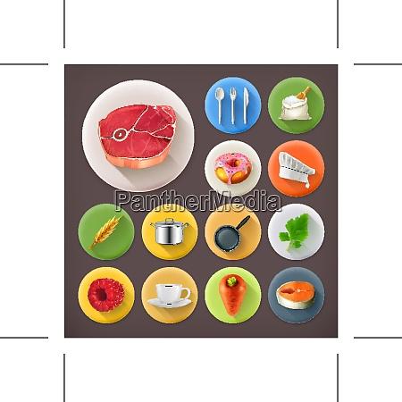 kueche und kochen lange schatten symbol