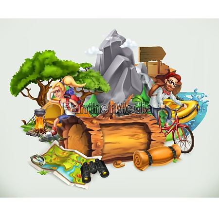 camping and adventure vector illustration