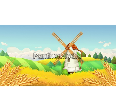 wheat field windmill landscape horizontal background