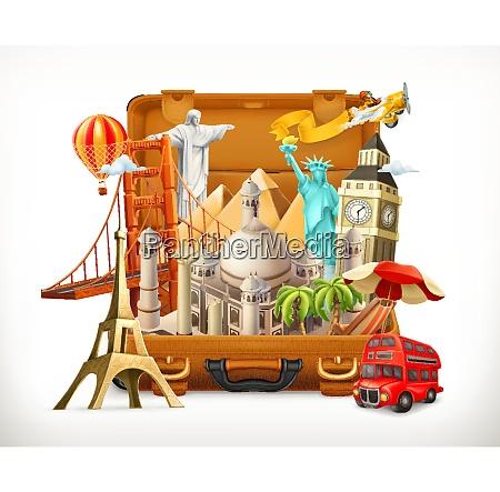 reisen touristenattraktion im koffer 3d vektor