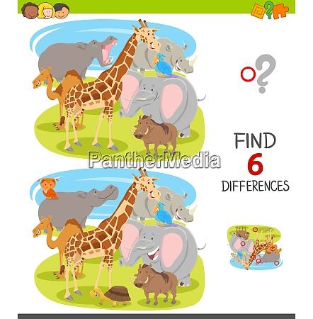 find differences game with cartoon animal