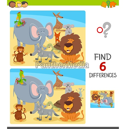 differences game with cartoon animal characters
