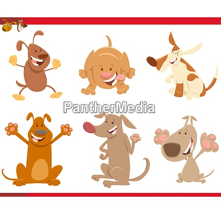 dogs or puppies cartoon characters set
