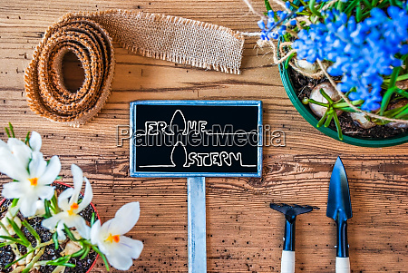 spring flowers sign calligraphy frohe ostern