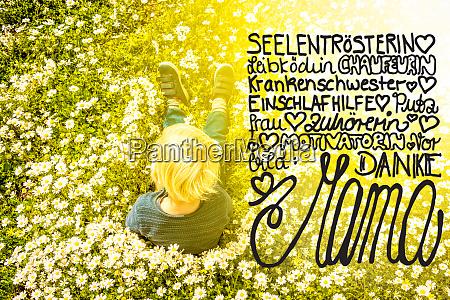 blonde child daisy calligraphy danke mama