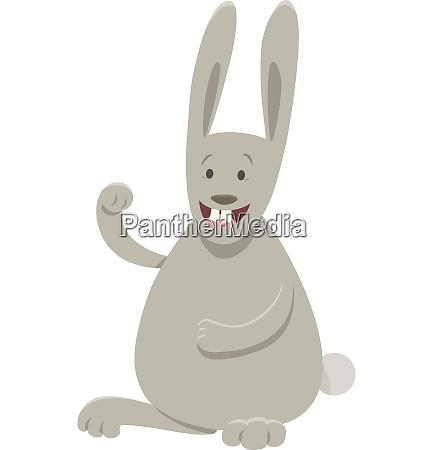 funny gray rabbit cartoon animal character